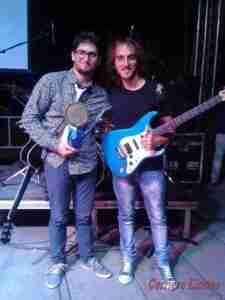 """Salvatore Giunta con il producer manager della """"Reverb"""" Orazio Fontes."""