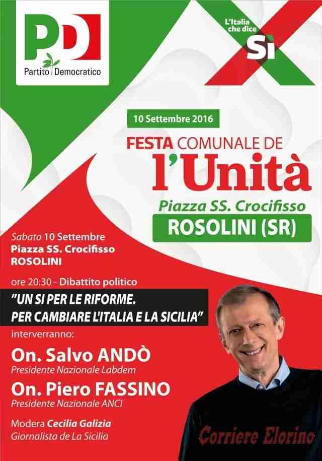"""Appuntamento con la """"Festa de l'Unità"""" a Rosolini"""
