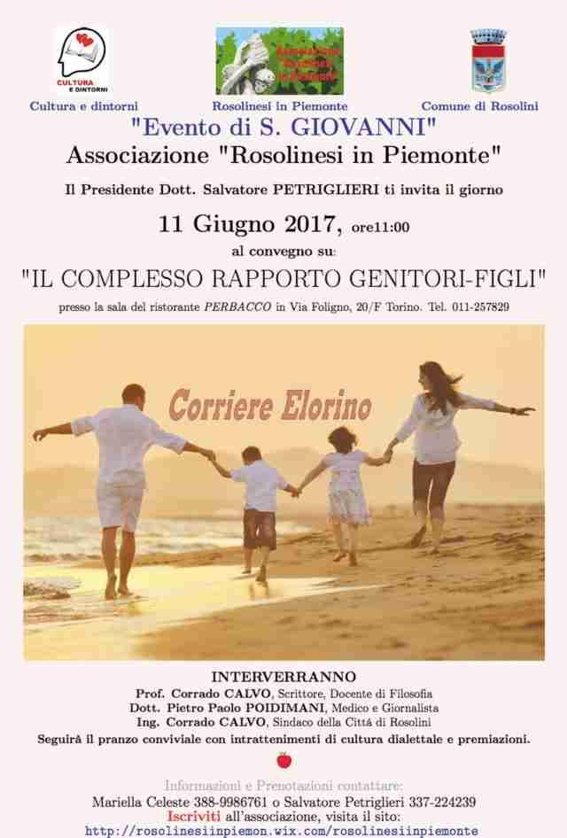 """""""Rosolinesi in Piemonte"""", l'11 giugno il convegno su """"Il complesso rapporto genitori-figli"""""""