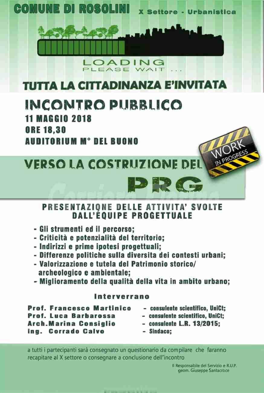 L'11 maggio incontro pubblico per parlare di PRG