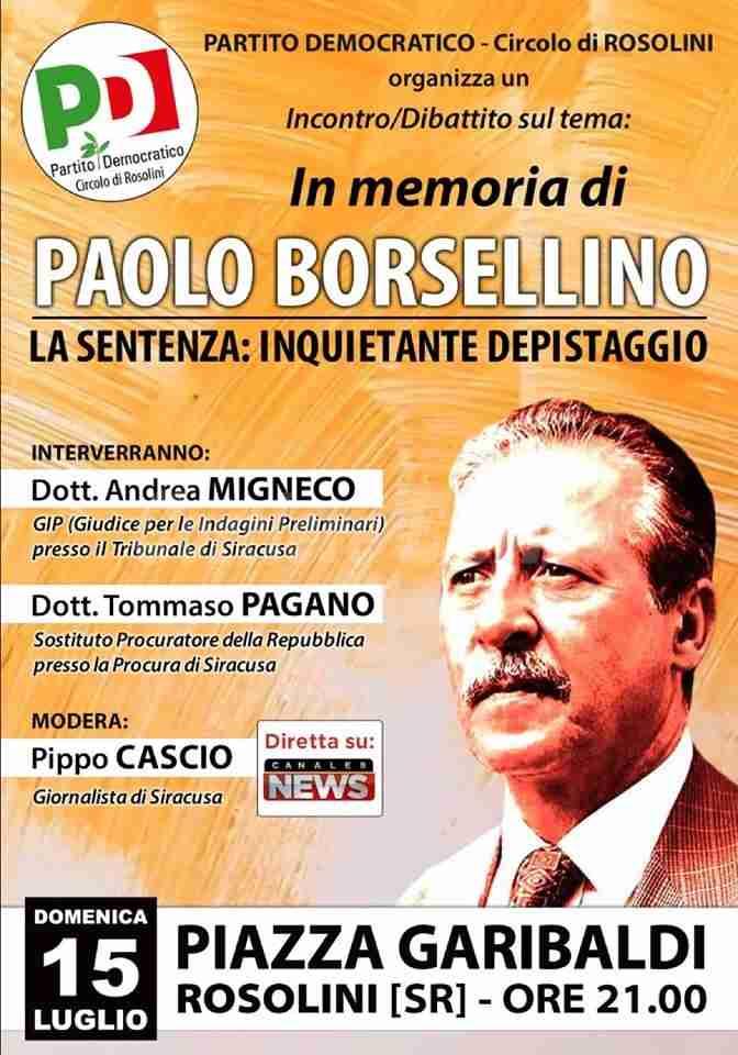 Il PD di Rosolini organizza un incontro in memoria di Paolo Borsellino