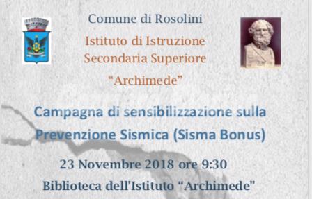 """Il 23 novembre all'Archimede """"Campagna di sensibilizzazione sulla Prevenzione sismica"""""""