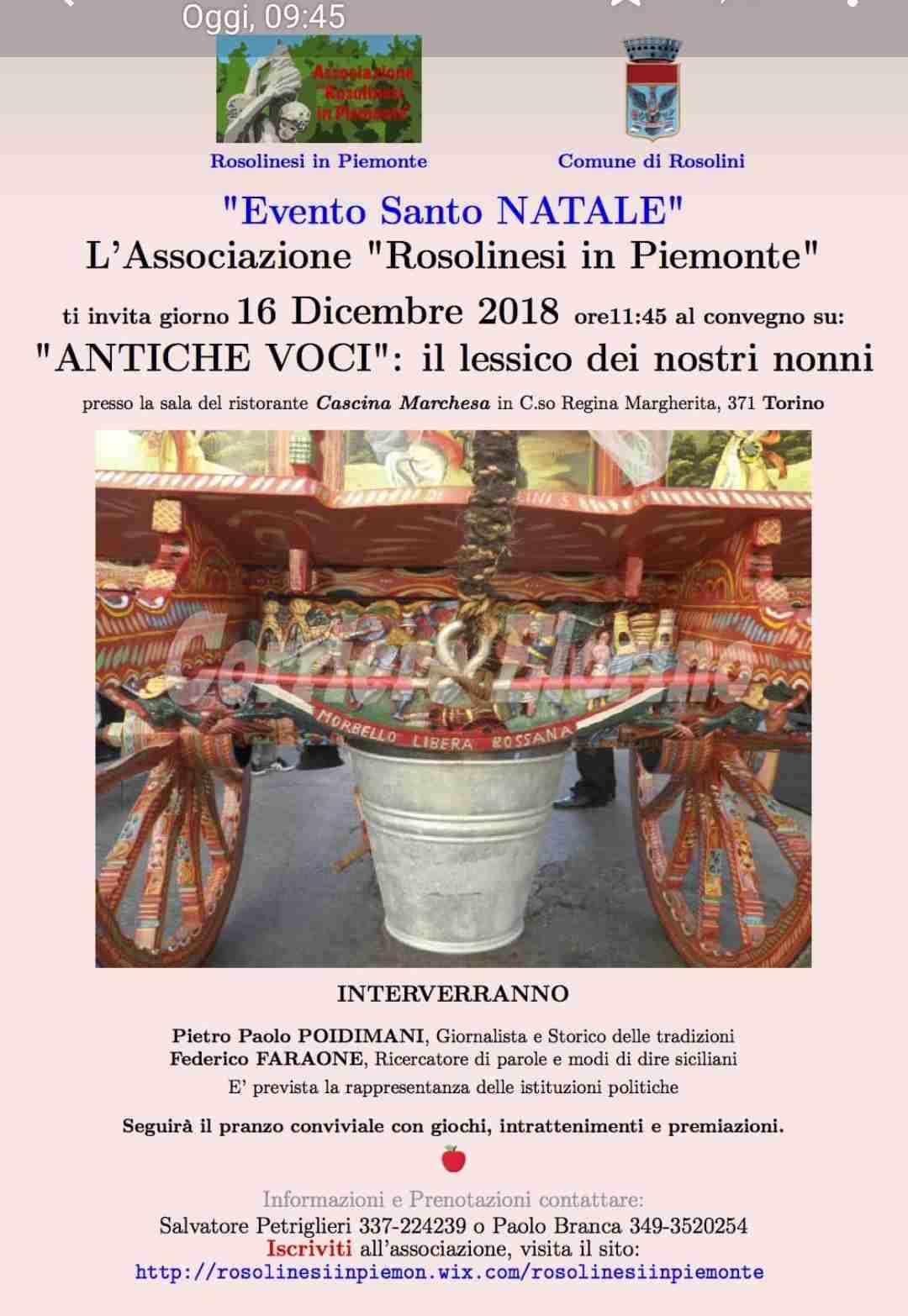 """Associazione Rosolinesi in Piemonte. Il 16 dicembre convegno su """"Antiche voci: il lessico dei nostri nonni"""""""