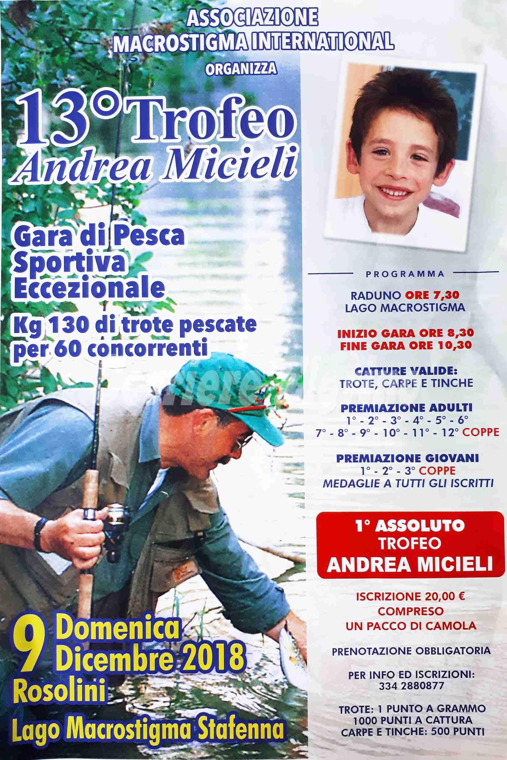 """Domenica 9 dicembre, 13° Trofeo """"Andrea Micieli"""" al laghetto Macrostigma"""