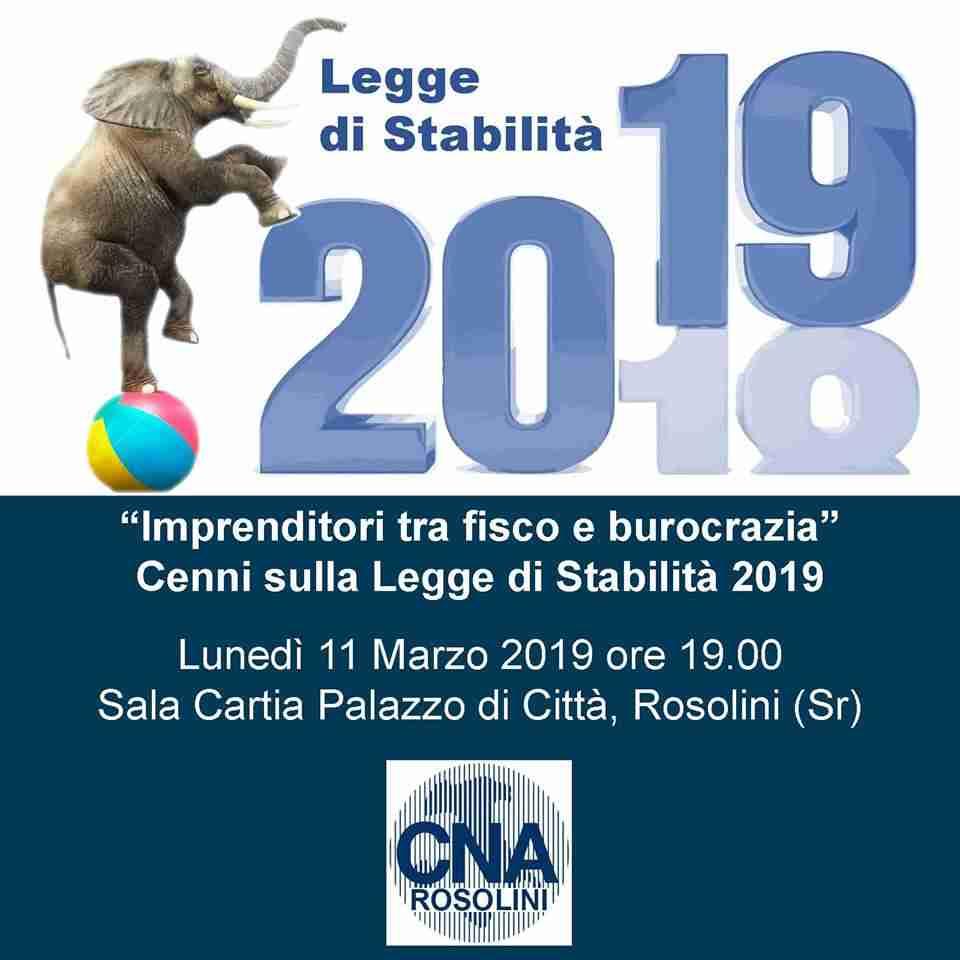 CNA di Rosolini: lunedì 11 marzo convegno sulla Legge di Stabilità 2019