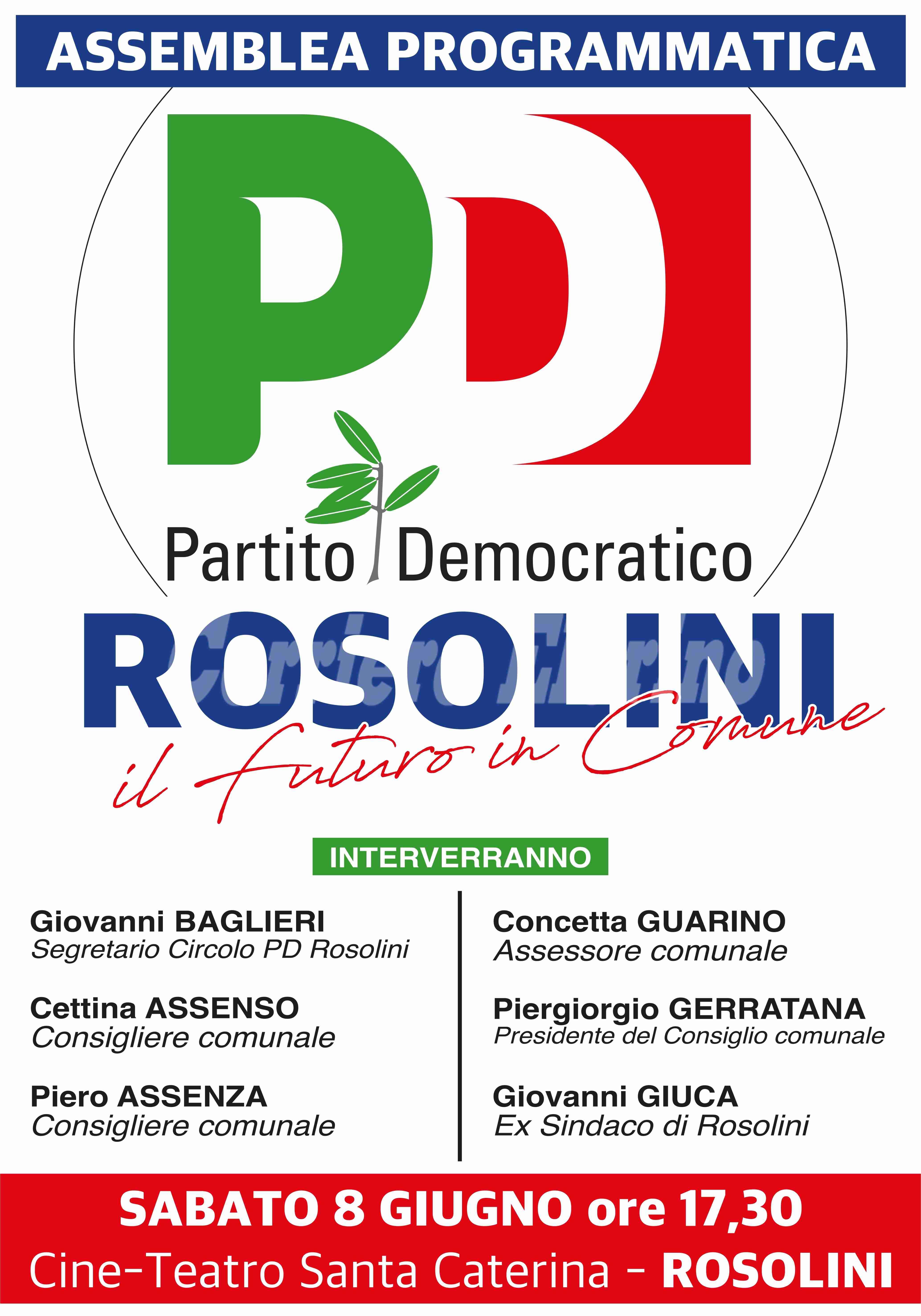 """PD Rosolini: sabato assemblea programmatica su """"Il Futuro in Comune"""""""