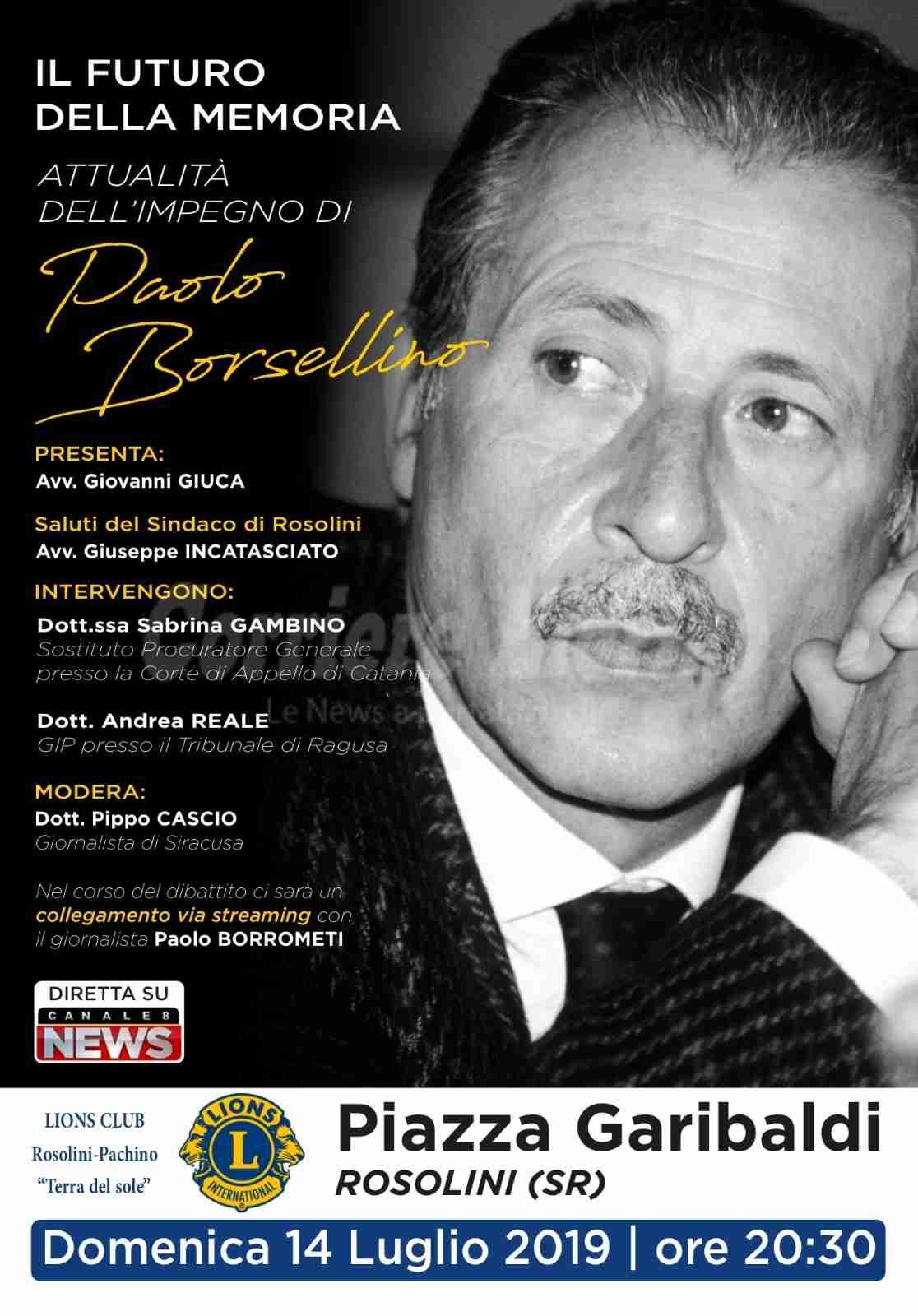 In memoria di Paolo Borsellino: domenica 15 luglio il convegno