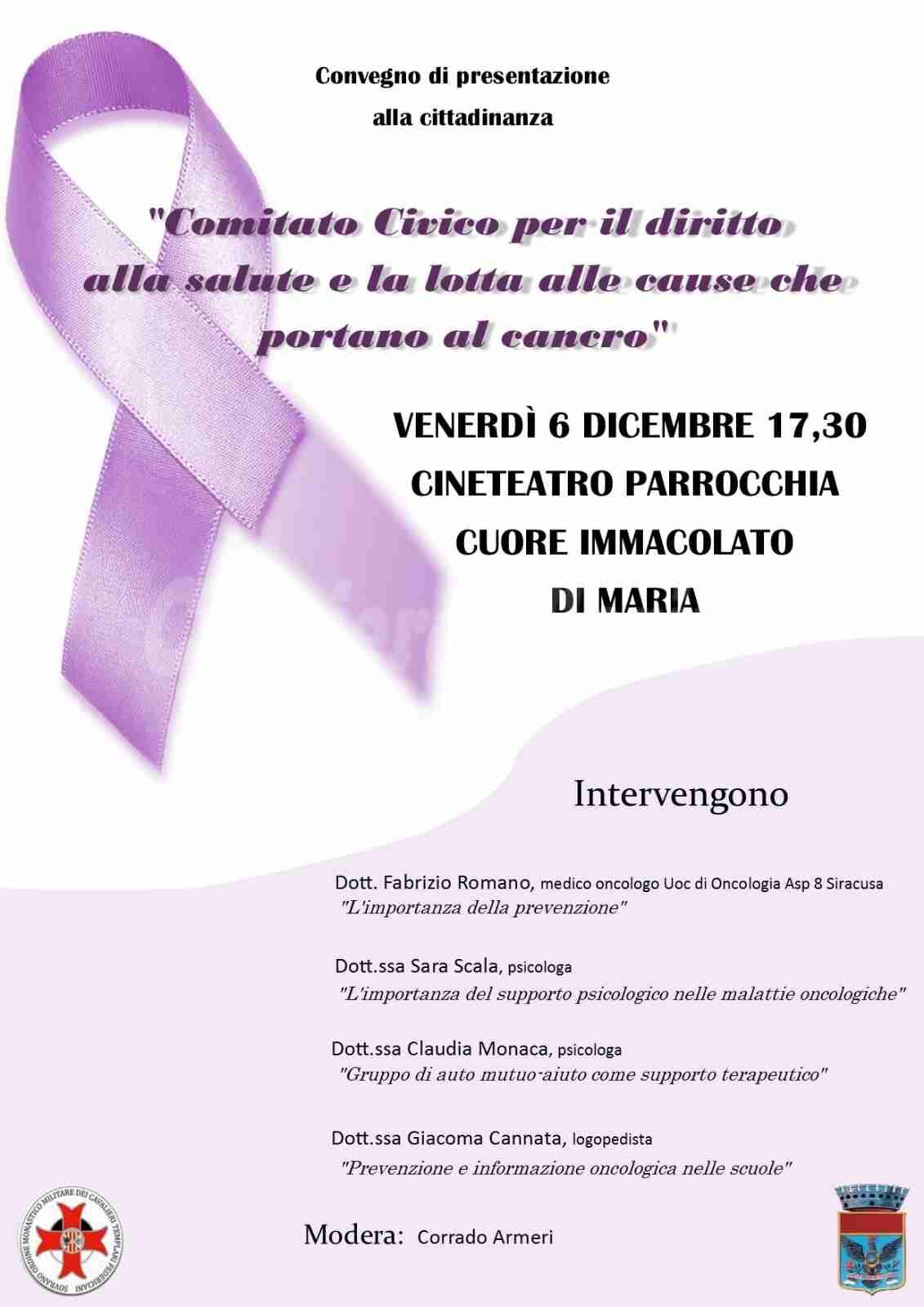 """Oggi pomeriggio il convegno promosso dal """"Comitato Civico per la lotta al cancro"""""""