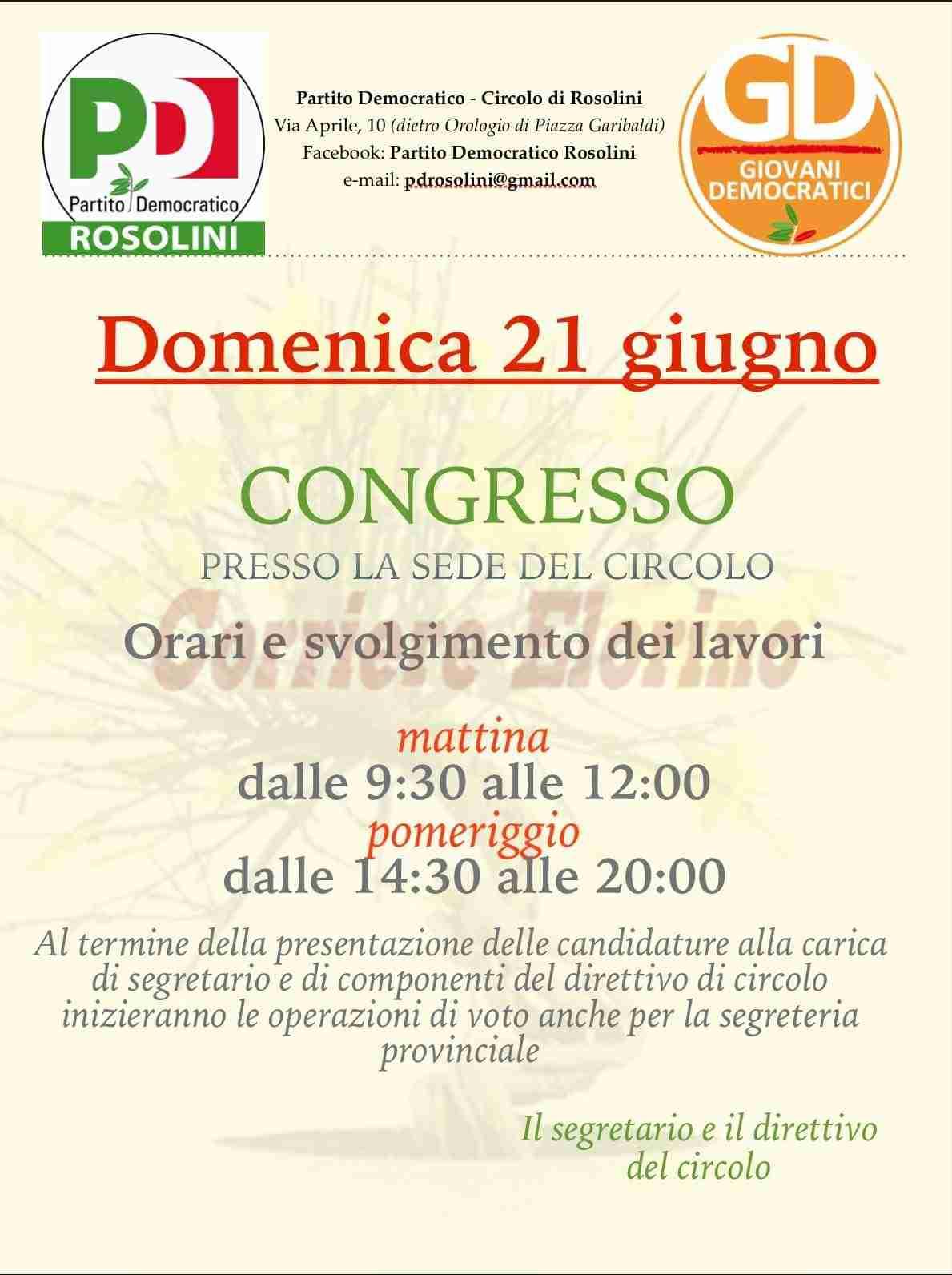 Domenica 21 giugno Congresso Cittadino del PD di Rosolini