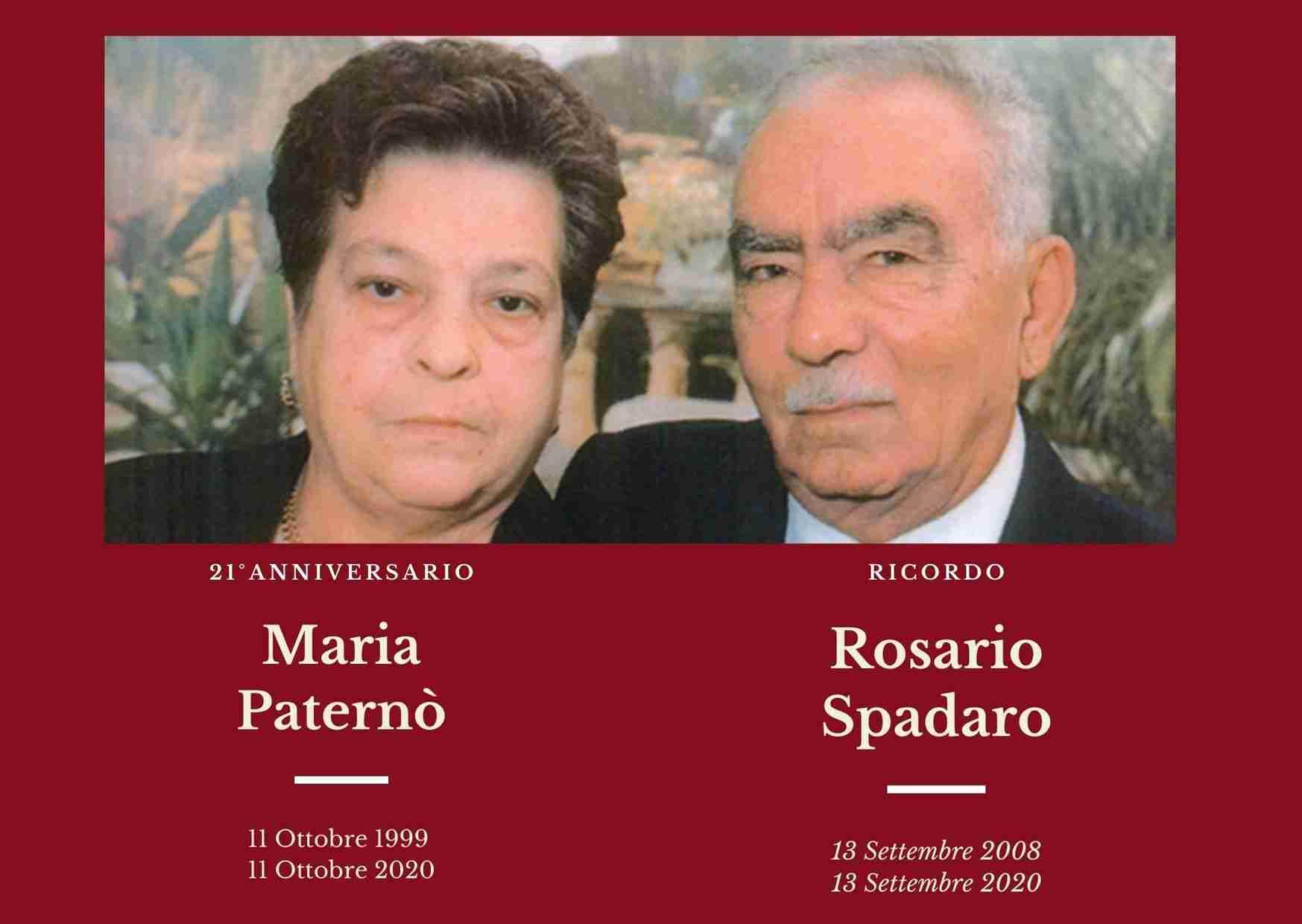 Necrologio: oggi l'anniversario e il ricordo dei coniugi Maria Paternò e Rosario Spadaro