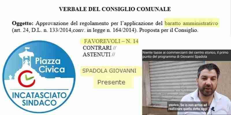 """Piazza Civica dopo il video di Spadola: """"Baratto amministrativo? Dimentichi di averlo già votato"""""""