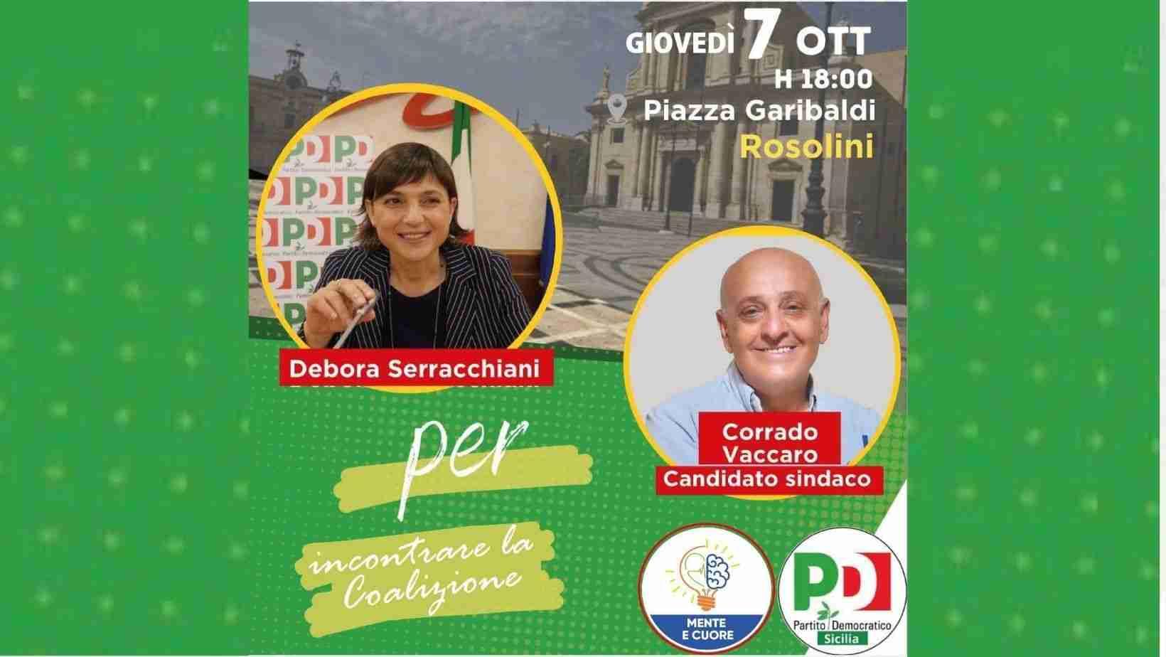Oggi in Piazza Garibaldi la deputata Pd Debora Serracchiani a sostegno di Corrado Vaccaro